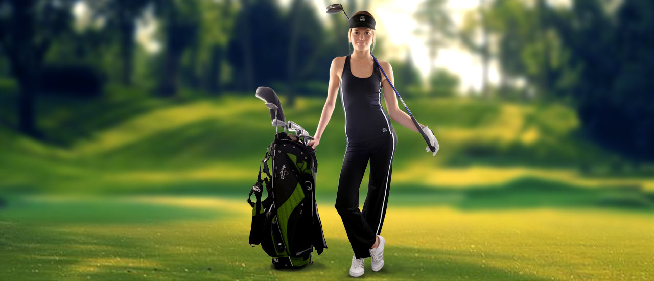 Golfeuse en TOP et PANTALON de sport FITme - Modèle présenter noir et filet blanc